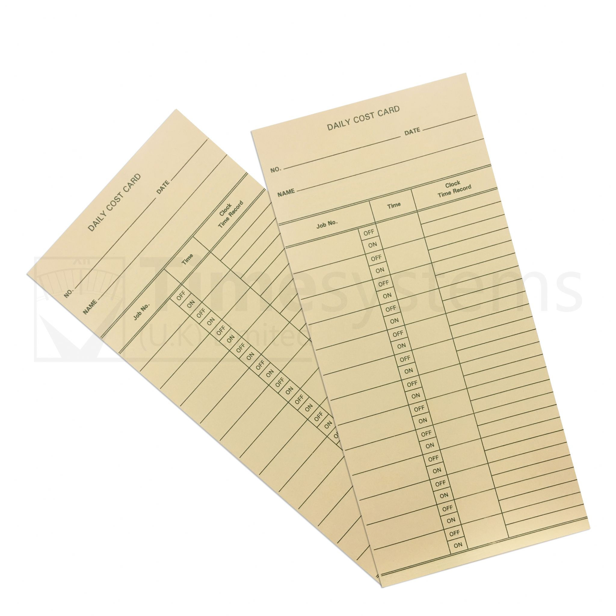 G.T.12 Daily Cost Time Clock Cards