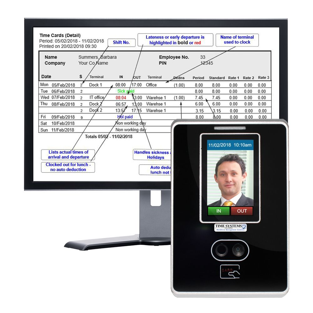 Clocking In Machine | Biometric Facial Recognition Time Recorder